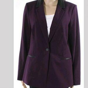 "Purple Calvin Klein Blazer Jacket w ""leather"" trim"